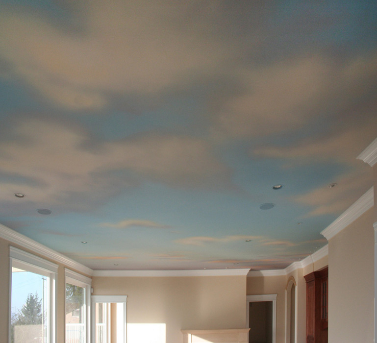 Painting clouds on ceiling ceiling systems for Clouds wall mural