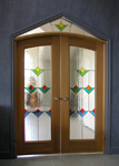 French Doors with stained glass